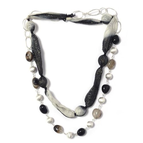 Black Agate, Glass Necklace (Size 40) in Silver Tone 157.150 Ct.