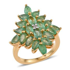 Brazilian Emerald (Pear), Diamond Ring in 14K Gold Overlay Sterling Silver 3.750 Ct.