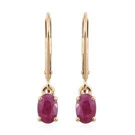 ILIANA 18K Yellow Gold 1 Carat AAA Burmese Ruby Lever Back Earrings