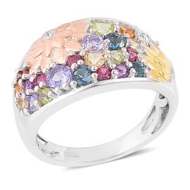Tanzanite (Rnd), Hebei Peridot, London Blue Topaz, Citrine, Jalisco Fire Opal, Rhodolite Garnet and Multi GemStone Floral Ring in Rhodium, Yellow and Rose Gold Overlay Sterling Silver 1.240 Ct.