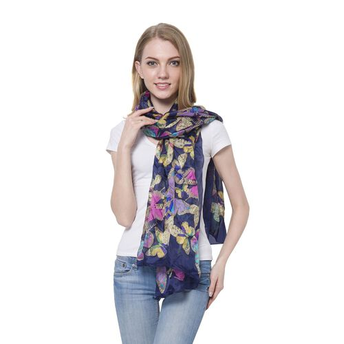 100% Mulberry Silk Multi Colour Butterfly Pattern Navy Colour Scarf (Size 180x110 Cm)