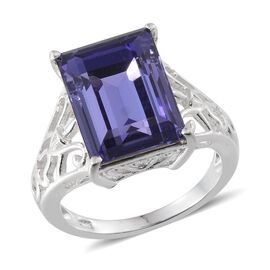 Crystal from Swarovski - Tanzanite Colour Crystal (Bgt) Solitaire Ring in Sterling Silver 6.500 Ct.