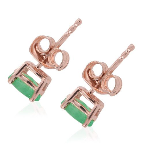 Zambian Emerald 0.90 Ct Silver Stud Earrings in Rose Gold Overlay