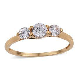 J Francis - 14K Gold Overlay Sterling Silver (Rnd) 3 Stone Ring Made with SWAROVSKI ZIRCONIA