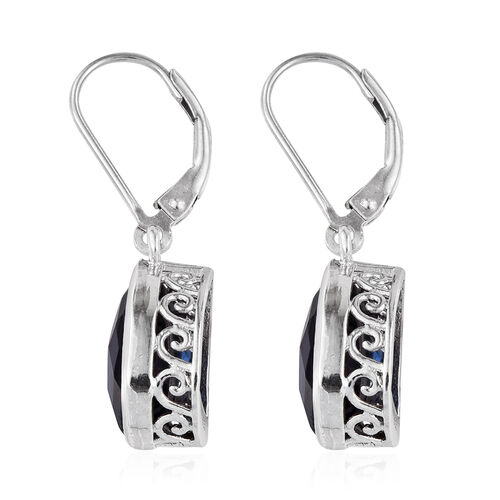 Ceylon Colour Quartz (Pear) Lever Back Earrings in Platinum Overlay Sterling Silver 7.000 Ct.