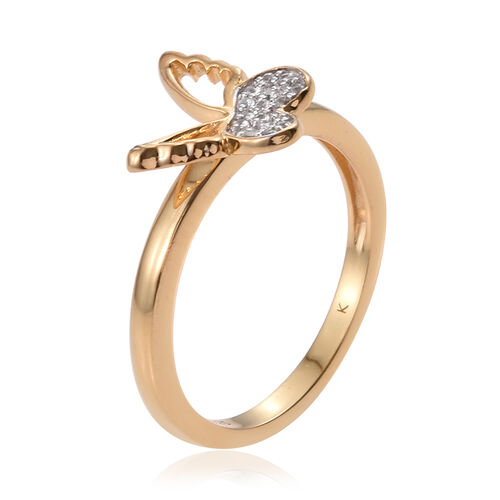 Kimberley Butterfly Collection Natural Cambodian Zircon (Rnd) Butterfly Ring in 14K Gold Overlay Sterling Silver