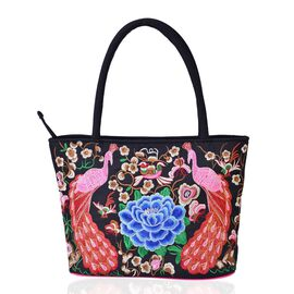 Shanghai Collection Pink, Blue and Multi Colour Peacock and Floral Pattern Black Colour Tote Bag (Size 33.5x28x13 Cm)