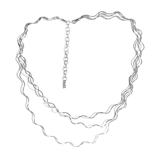 JCK Vegas Collection Rhodium Plated Sterling Silver Necklace (Size 17 with 3 inch Extender) Silver wt 13.15 Gms.