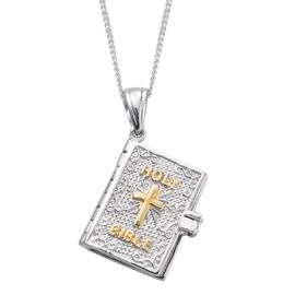Platinum and Yellow Gold Overlay Sterling Silver Bible Pendant With Chain, Silver wt 8.20 Gms.
