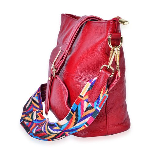 Genuine Leather Red Colour Shoulder Bag (Size 29x26x23x13 Cm) with External Zipper Pocket and Multi Colour Removable Shoulder Strap