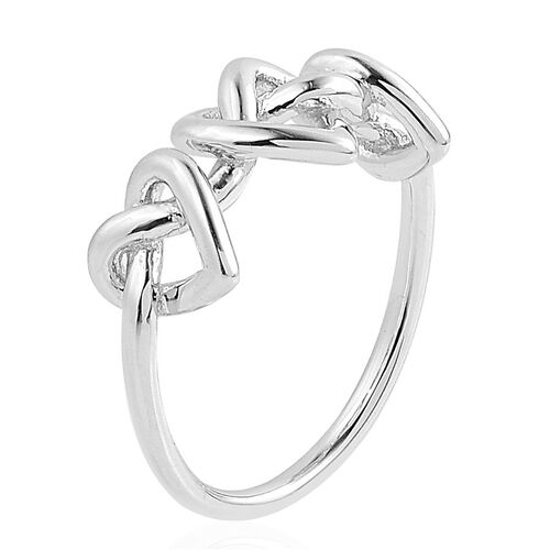 LucyQ Triple Entwine Ring in Rhodium Plated Sterling Silver