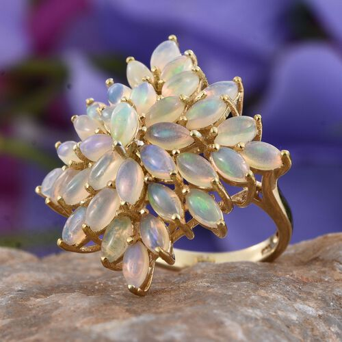 Ethiopian Welo Opal (Mrq) Cluster Ring in 14K Gold Overlay Sterling Silver 3.000 Ct.