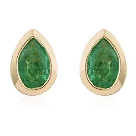 9K Yellow Gold 0.65 Ct AA Boyaca Colombian Emerald Pear Stud Earrings (with Push Back)