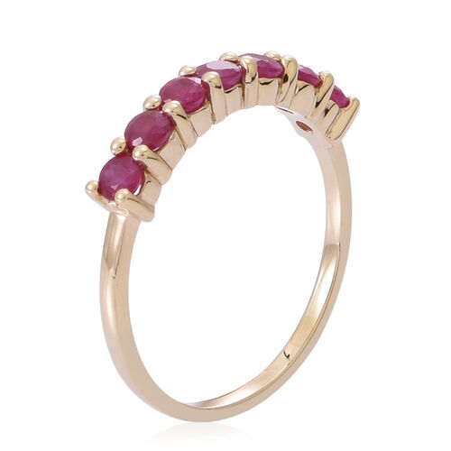 9K Y Gold Burmese Ruby (Rnd) 7 Stone Ring 1.000 Ct.