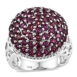 Odisha Rhodolite Garnet (Rnd) Cluster Ring in Platinum Overlay Sterling Silver 4.250 Ct.