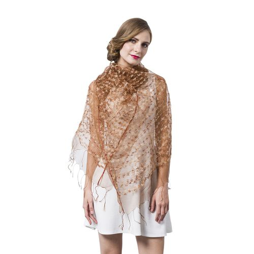 Light Chocolate and White Colour Small Tassel Flowers Embellished Scarf (Size 160X65 Cm)