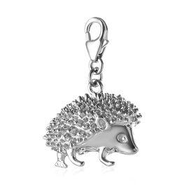 Platinum Overlay Sterling Silver Hedgehog Charm, Silver wt 6.63 Gms.
