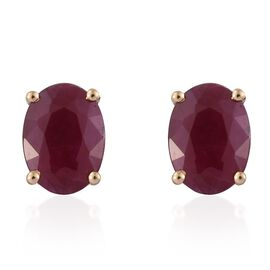 ILIANA 18K Yellow Gold 2 Carat AAA Pigeon Blood Burmese Ruby Oval Solitaire Stud Earrings (with Screw Back)