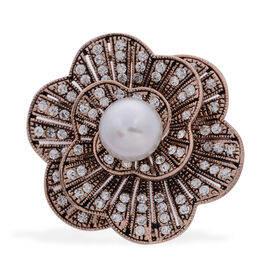 White Glass Pearl and White Austrian Crystal Floral Brooch with Simulated Stone in Rose Gold Tone