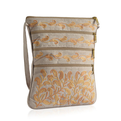 Suede Fabric Light Yellow Colour Paisley and Flowers Embroidered Light Grey Colour Sling Bag (Size 27x20 Cm)