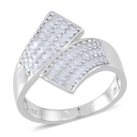 ELANZA AAA Simulated White Diamond (Bgt) Crossover Ring in Rhodium Plated Sterling Silver
