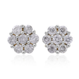 14K Y Gold SGL Certified Diamond (Rnd) (I2 / G-H) Floral Stud Earrings (with Screw Back) 1.000 Ct.