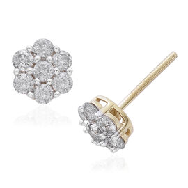 9K Y Gold SGL Certified (G to H colour and I3 Clarity) Diamond (Rnd) Floral Stud Earrings (with Push Back) 1.000 Ct.
