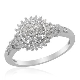 Cambodian White Zircon (Rnd) Ring in Platinum Overlay Sterling Silver