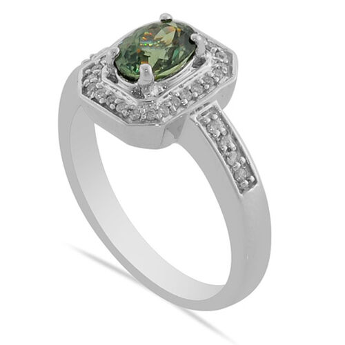 14K W Gold Ambanja Demantoid Garnet and Diamond Ring  0.90  Ct.