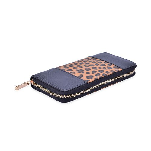 Leopard Pattern Black and Chocolate Colour Wallet (20x10x2.5 Cm)