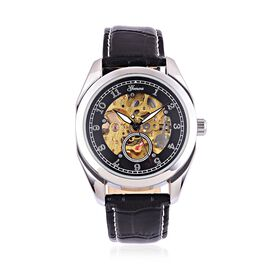 GENOA Automatic Skeleton Black Dial Water Resistant Watch in Silver Tone With Stainless Steel Back and Black Colour Strap