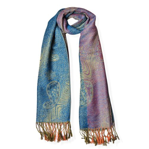 Paisley and Water Wave Pattern Light Purple and Light Blue Colour Scarf (Size 170x70 Cm)