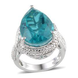 Capri Blue Quartz (Pear 12.75 Ct), Diamond Ring in Platinum Overlay Sterling Silver 12.760 Ct.