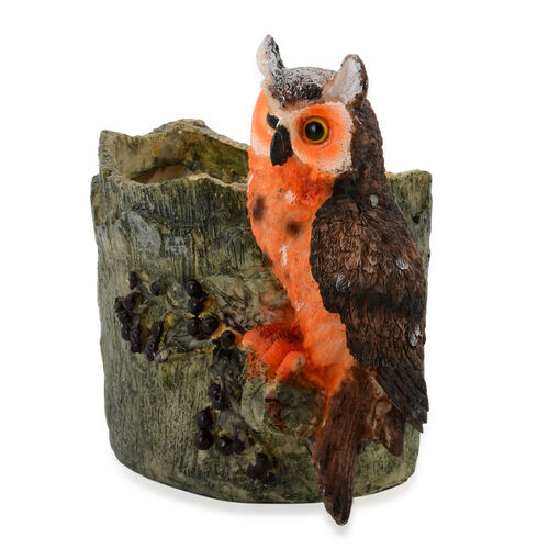 Home Decor - Orange and Brown Owl Vase
