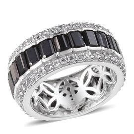 Boi Ploi Black Spinel (Oct), White Topaz Full Eternity Ring in Platinum Overlay Sterling Silver 10.250 Ct.