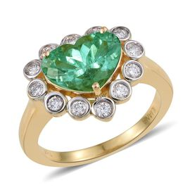 ILIANA 18K Y Gold Boyaca Colombian Emerald (Hrt 2.35 Ct), Diamond (SI/G-H) Ring 2.750 Ct.