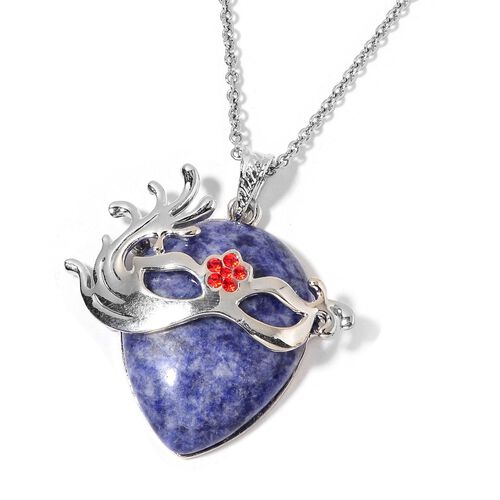 Sodalite and Red Austrian Crystal Mask Pendant With Chain (Size 32) in Silver Tone with Stainless Steel 25.500 Ct.