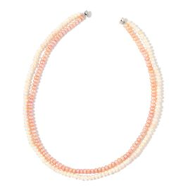 Exclusive Edition AAA Fresh Water Peach and White Pearl Double Strand Necklace with Magnetic Clasp (Size 18) in Silver Tone