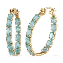 Yellow Gold Plated Silver 9.25 Carat Paraibe Apatite Hoop Earrings