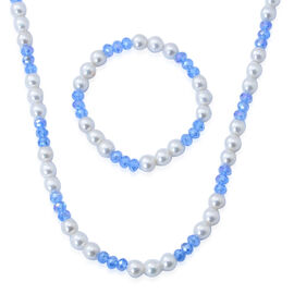 White Shell Pearl and Blue Glass Necklace (Size 28) in Silver Tone and Stretchable Bracelet (Size 7.50)
