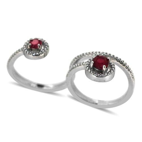 African Ruby (Rnd 0.67 Ct), White Topaz 2 Finger Ring in Rhodium Plated Sterling Silver 1.030 Ct.