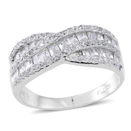 ELANZA AAA Simulated White Diamond (Bgt) Criss Cross Ring in Rhodium Plated Sterling Silver