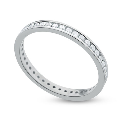 9K White Gold SGL Certified 0.50 Carat Diamond Round (I3/G-H) Full Eternity Wedding Band Ring.