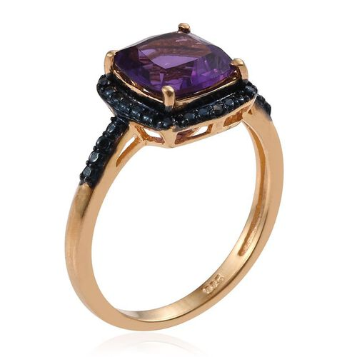 Lusaka Amethyst (Cush), Blue Diamond Ring, Pendant and Stud Earrings (with Push Back) in 14K Gold Overlay Sterling Silver 6.790 Ct.