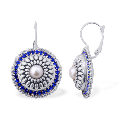 Set of 2 - White Glass Pearl, White Glass and Blue Austrian Crystal Lever Back Earrings in Silver Tone
