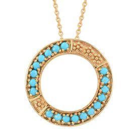 1 Carat Arizona Sleeping Beauty Turquoise Circle Of Life Pendant With Chain In 14K Gold Overlay Sterling Silver
