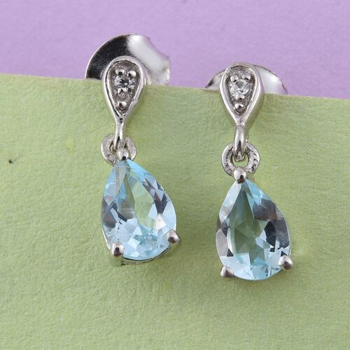 Sky Blue Topaz, Natural Cambodian Zircon 1.50 Ct Silver Earrings in Platinum Overlay