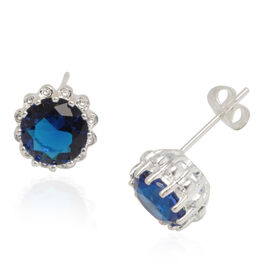 AAA Simulated Blue Sapphire (Rnd) Earrings (With Push Back) in Silver Tone