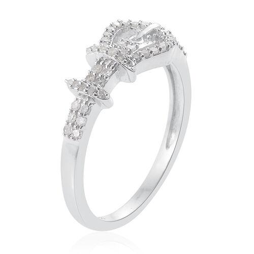 Diamond Platinum Overlay Sterling Silver Ring  0.330  Ct.