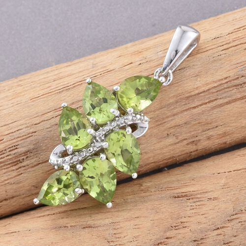 Hebei Peridot (Pear) Pendant in Platinum Overlay Sterling Silver 4.000 Ct.